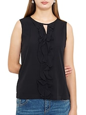black crepe ruffle top -  online shopping for Tops