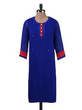Blue Embroidered Poly Georgette Kurta - By
