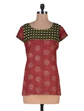 Maroon Cotton Printed Kurti - By