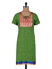 Green Printed Cotton Kurta With Dori Closure - By