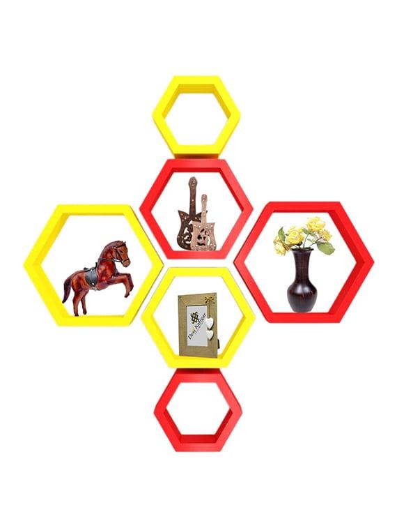 desi karigar wall mount shelves hexagon shape set of 6 wall shelves   red   yellow