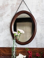 Mango Wood Oval Frame Mirror - By