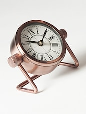 Copper Brown Table Clock With Stand - By
