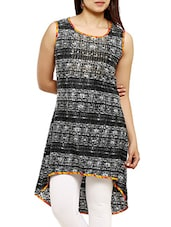 Black Rayon High-low Kurta - By