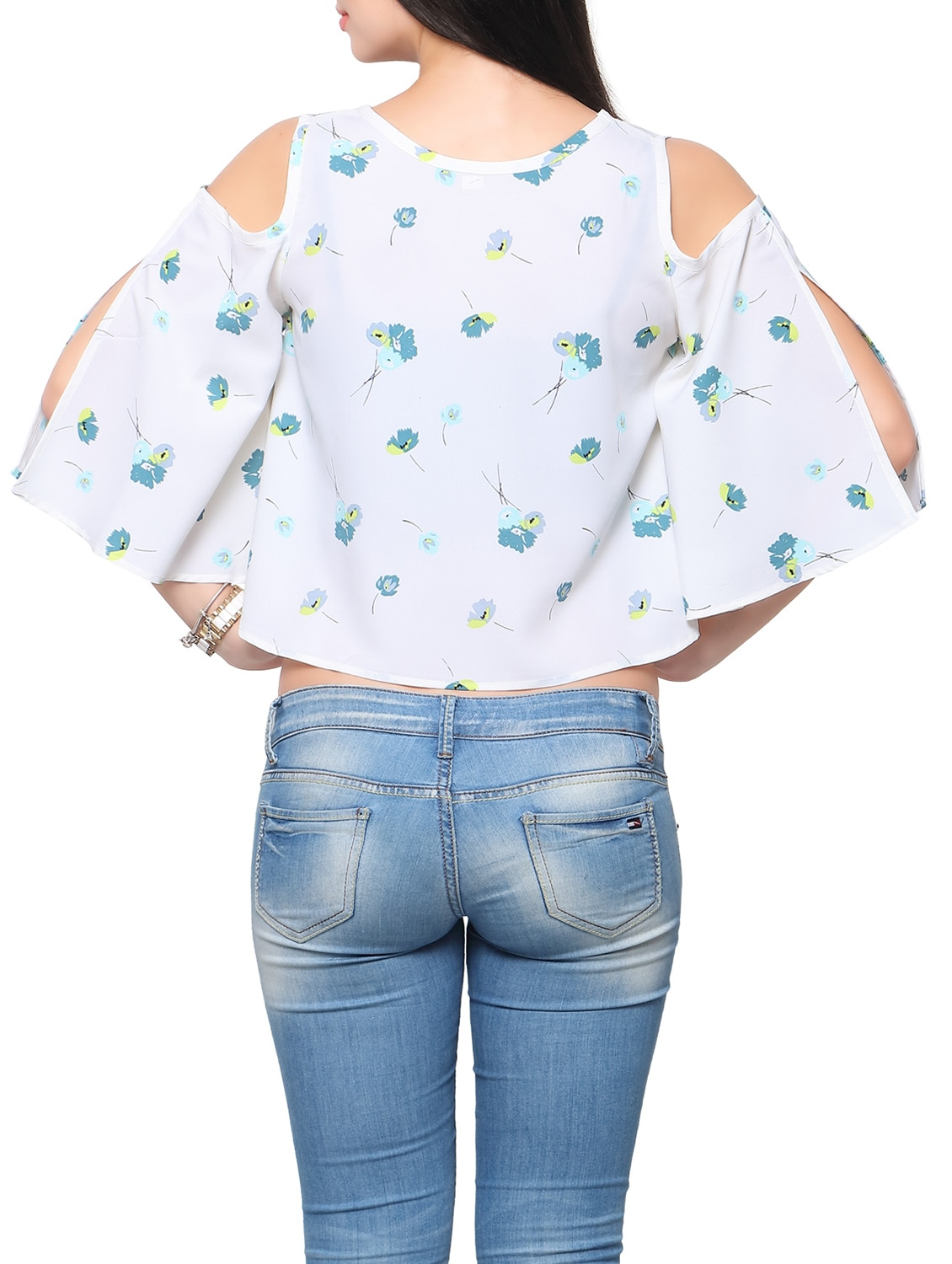f633f3f6f6d Buy White Floral Printed Crepe Crop Top for Women from Ahalyaa for ₹454 at  58% off | 2019 Limeroad.com
