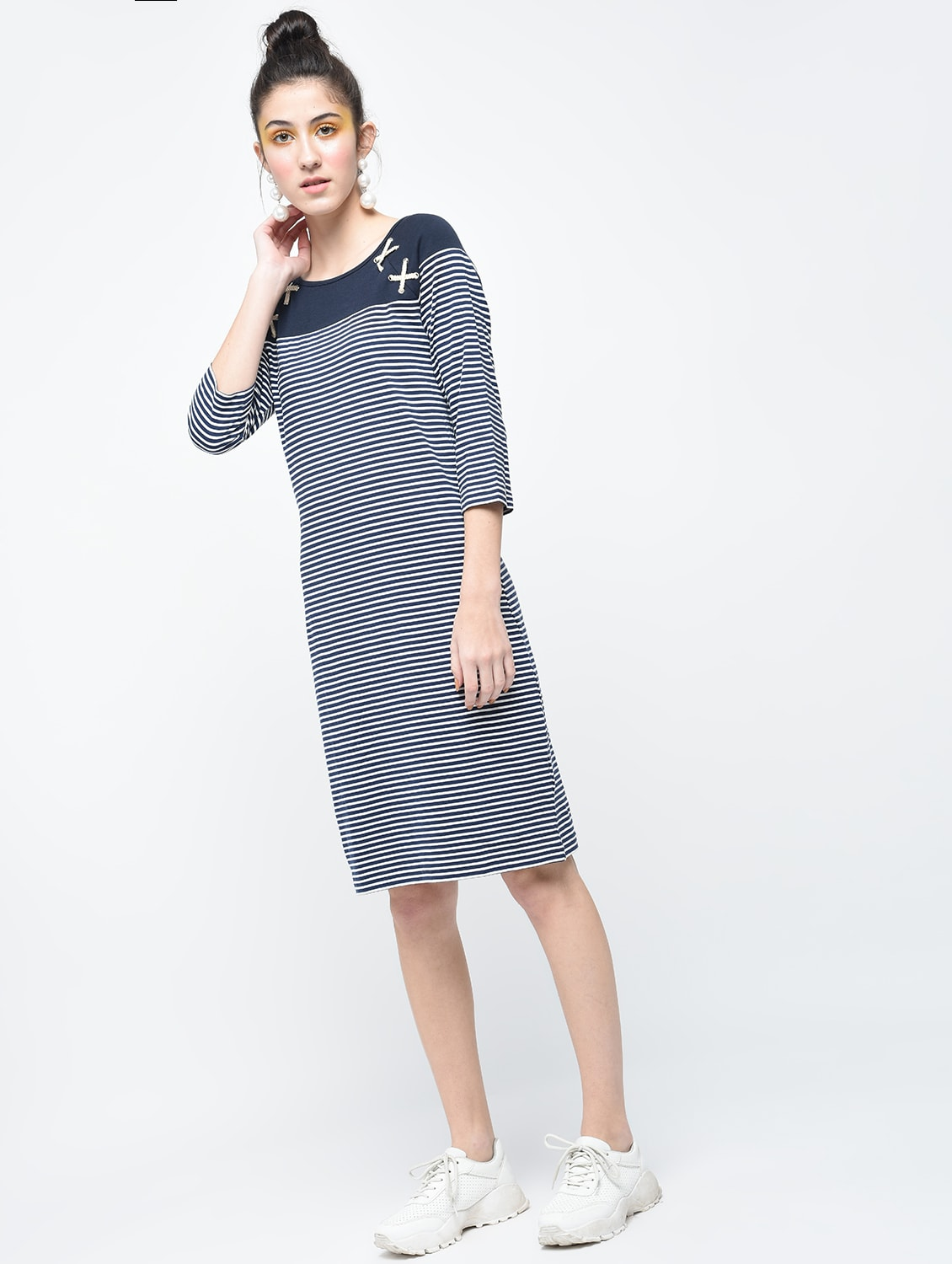 40afddc44b Buy Navy Blue Striped Cotton Dress for Women from Marie Lucent for ₹787 at  45% off