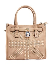 Beige Crystals Leatherette Hand Held Bag - By