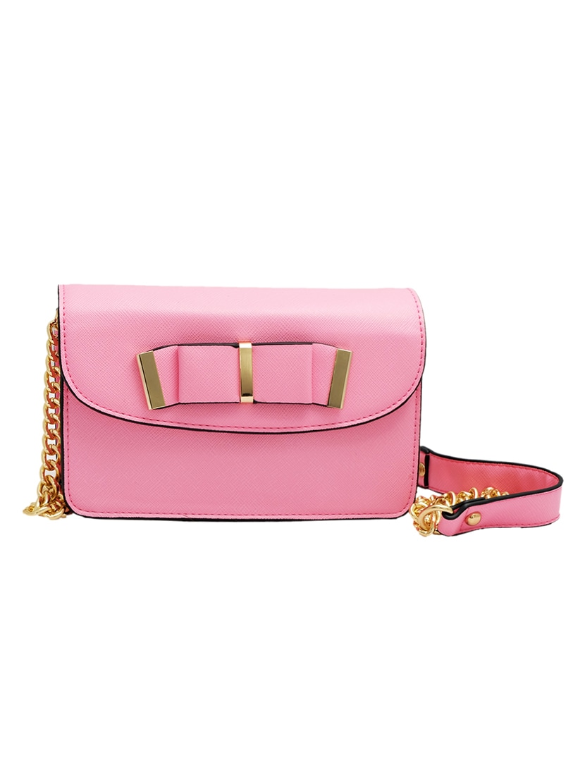 Pink Leatherette Bow Sling Bag - By