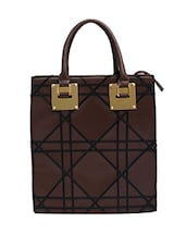 Brown Leatherette Hand Held Bag - By