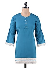 Blue Cotton Kurti With Lace Trim - By