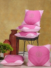 Pink Cotton Cushion Covers (Set Of 5) - Desi Connection