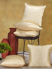 Cream Poly Cotton Cushion Covers (Set Of 5) - Desi Connection