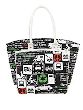 Black And White Printed Jute Bag - By