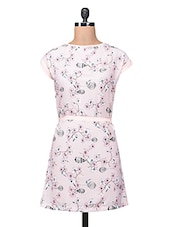 Pink Polycrepe Printed Dress With Fabric Belt - By
