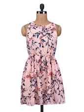 Peach Polygeorgette Printed Mini Dress - By