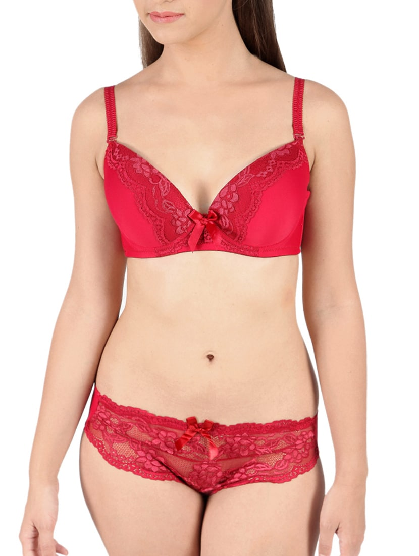 e3fd7d7b4e Buy Red Lacy Bra And Panty Set by De soul - Online shopping for Bras And Panty  Set in India