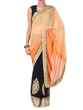 Orange And Black Embroidered Georgette Saree - By