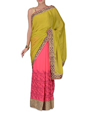 Mehendi Green And Pink Embroidered Saree - By