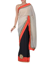 Cream And Black Sequined Georgette Saree - By