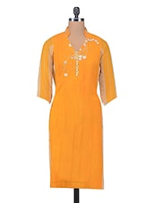 Mustard Embroidered Poly Georgette Kurta - By