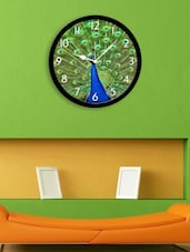 Blue Plastic Peacock Wall Clock - By