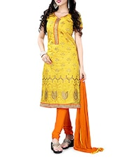 Yellow Embroidered Chanderi Cotton Semi Stitched Suit Set - By