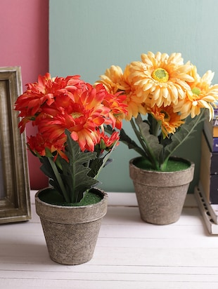 Set of 2 Beautiful Red & Yellow 29.5 CM High Artificial Floral Plants -  online shopping for Indoor Plants