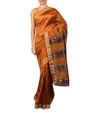 Brown Synthetic Weave Saree - Janasya