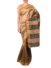 Beige Synthetic Weave Saree - By