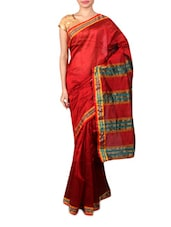 Red Synthetic Weave Saree - By