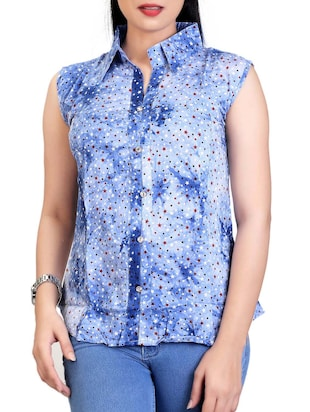 6020b6c5db2 blue printed cotton regular shirt - Online Shopping for Shirts