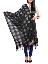 Black Viscose Embroidered Dupatta - By