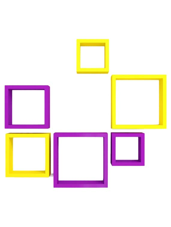 desi karigar wall mount shelves square shape set of 6 wall shelves   yellow   purple