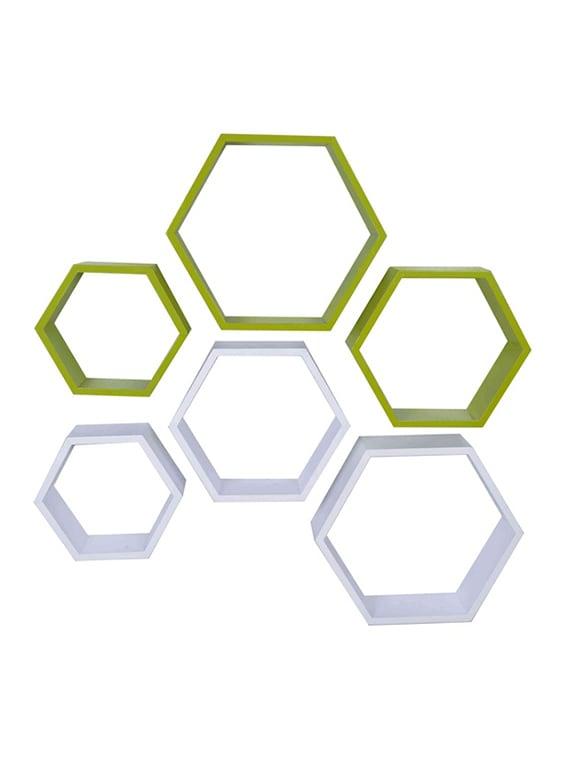 desi karigar wall mount shelves hexagon shape set of 6 wall shelves   white   green