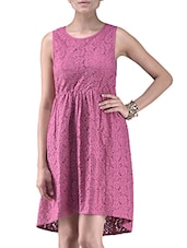 Dusky Pink Cotton Lace Cocktail Dress - By