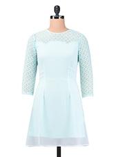 Blue Plain Trimmed Laced Georgette Dress - By