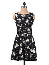 Black Printed Poly Crepe Dress - By
