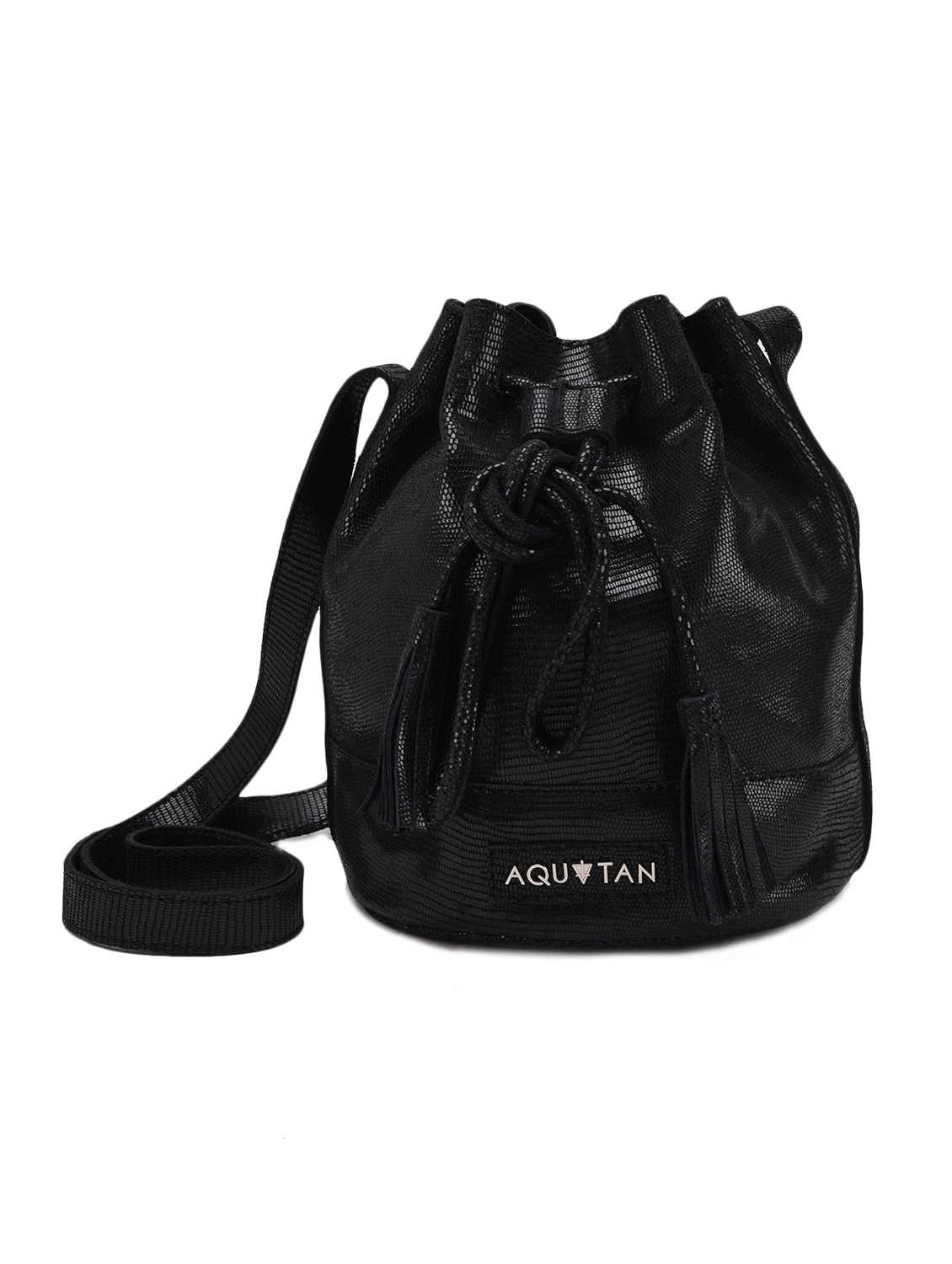 ... Buy Textured Black Leather Drawstring Sling Bag by Aquatan - Online  shopping for Sling Bags in ... 1fb640c3bc9a1