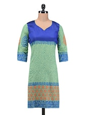 Printed Cotton V Neck Kurta - By