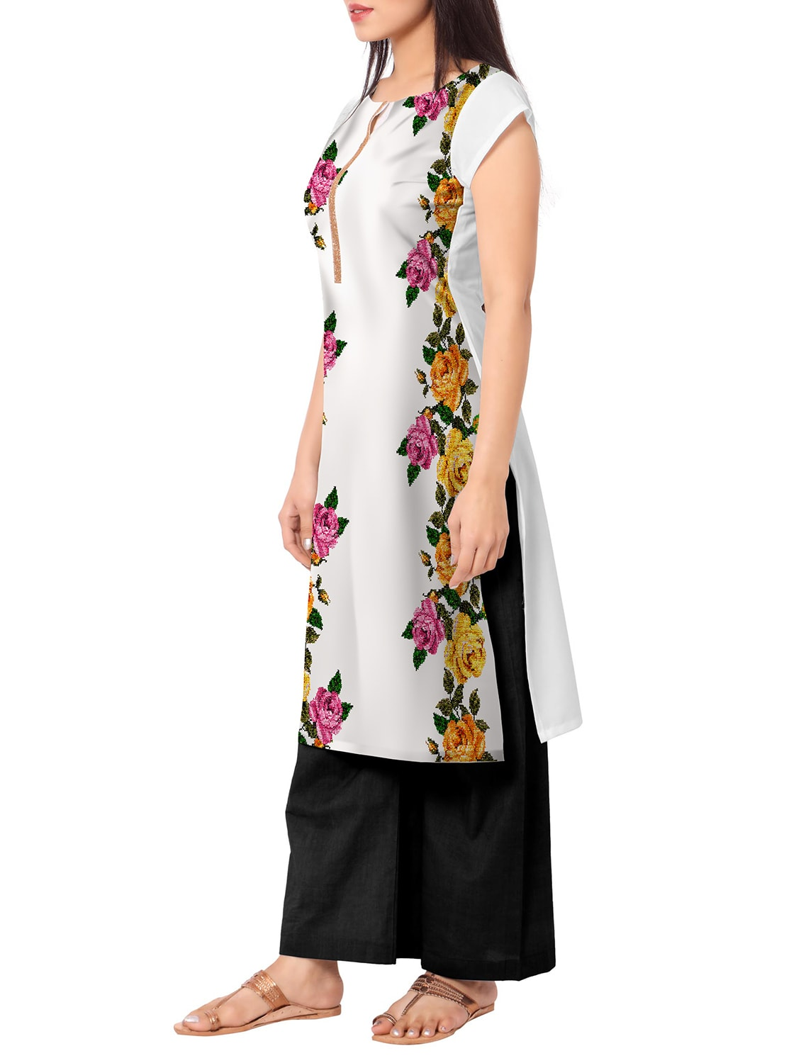 ac497b04819 Buy White Crepe Straight Kurti for Women from Ahalyaa for ₹454 at 58% off |  2019 Limeroad.com