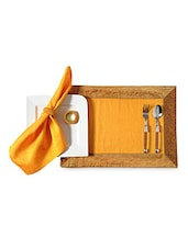 Yellow Silk Set Of 4 Placemat, Napkin And Ring - By