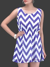 White And Blue Chevron Print Dress - By