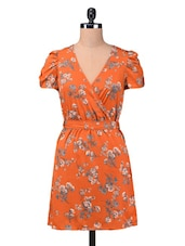Orange Polycrepe Printed Dress With Fabric Belt - By