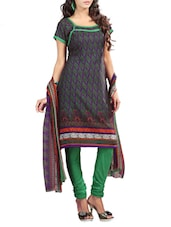 Green Printed  Cotton Unstitched Suit Piece - By