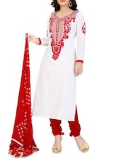 White Embroidered And Red Cotton Salwar Kameez - By