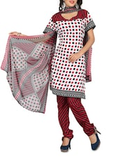 White Printed  And Maroon Crepe Unstitched Suit Piece - By