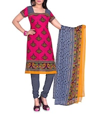 Pink Printed  And Black Synthetic Unstitched Suit Piece - By