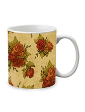 Brown Ceramic Rose Mug - By