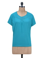 Blue Plain Cotton Knits T-shirt - By