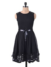 Solid Black Polygeorgette Dress With Lace Trim - By